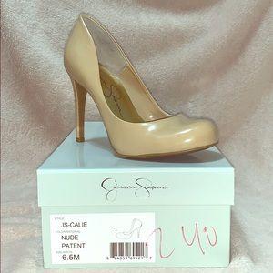 Nude patent high heels